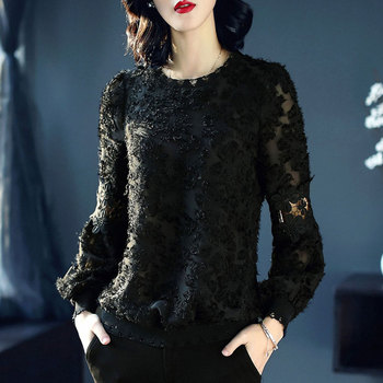 Europe New 2020 Spring Women's High Fashion Loose O Neck Long Sleeve Black Personality T Shirt Tops Female Casual Redmond Shirts
