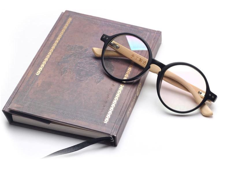 Ochelari din lemn rotunjit din picior de bambus 2019 Ochelari din lemn Ochelari de bambus de lectură Rame din lemn oculos de grau n557