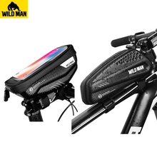 WILD MAN MTB Bike Bag Rainproof Front 6.2inch Mobile Phone Case Bicycle Top Tube Cycling Anti Pressure Tail Tool