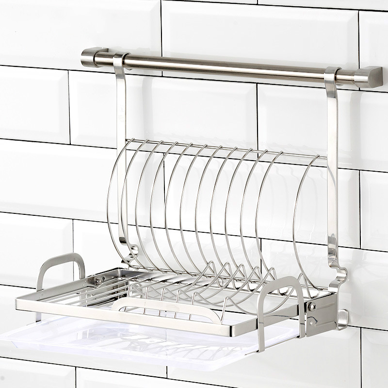 Kitchen Stainless Steel With Folding Drip Tray Design Wall-mounted Storage Pendant Tableware Rack LU4191