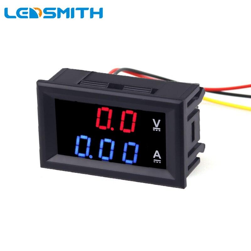 0,28 pulgadas de doble pantalla voltímetro amperímetro voltímetro CC 0-100V 10A medidor de medición de corriente de voltaje Detector de Monitor para coche Moto