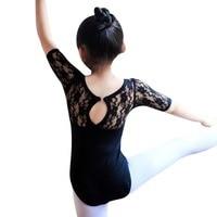 Child Kids Girl Ballet Dance Dress Lace Half Sleeve Gymnastics Leotard Clothes LG78