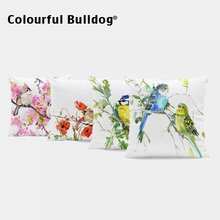 Colorful Parrot Throw Pillow Covers Red Poppy Pink Flower Pillow Cushion Covers Green Plants Home Sofa Decorative Pillow Cases