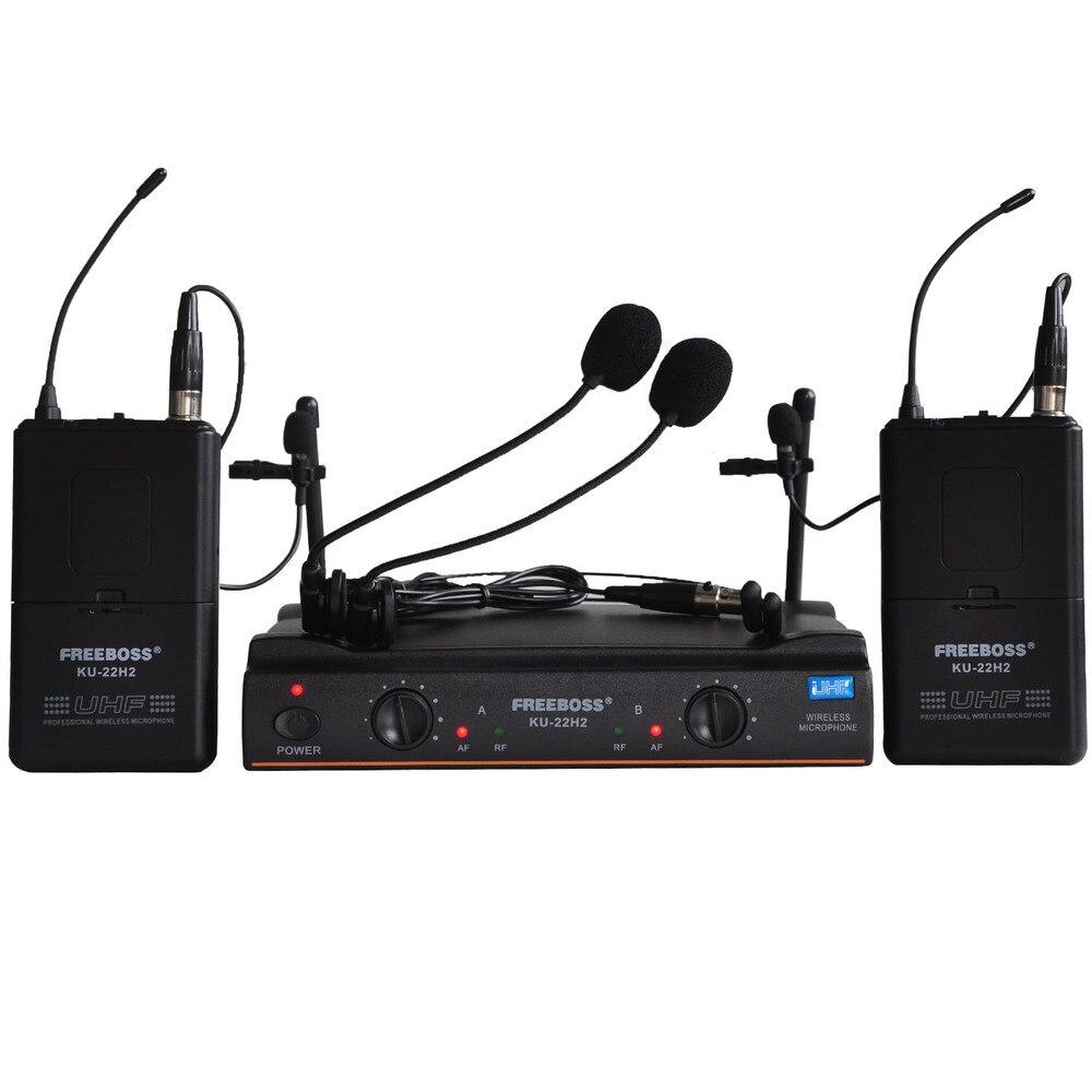FREEBOSS KU 22H2 UHF Wireless Microphone System DJ Karaoke 2 Lapel 2 Headset microphone 2 Bodypack