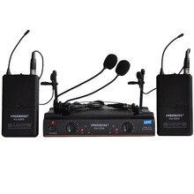 FREEBOSS KU 22H2 UHF беспроводной микрофон система DJ Караоке 2 лацканы 2 гарнитура микрофон (2 боди передатчик)