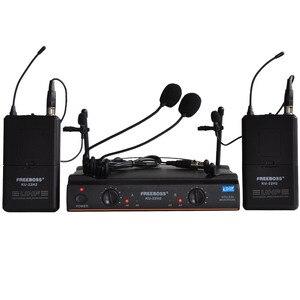 Image 1 - FREEBOSS KU 22H2 système de Microphone sans fil UHF DJ karaoké 2 revers 2 micro casque (2 transmetteur Bodypack)