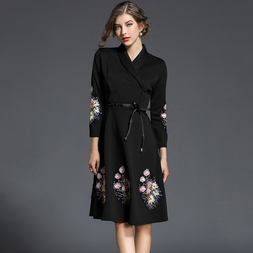 European Fashion Runway Dresses 2018 Women High Quality Vintage Floral Embroidery A line Dress Ladies Office Party Dresses