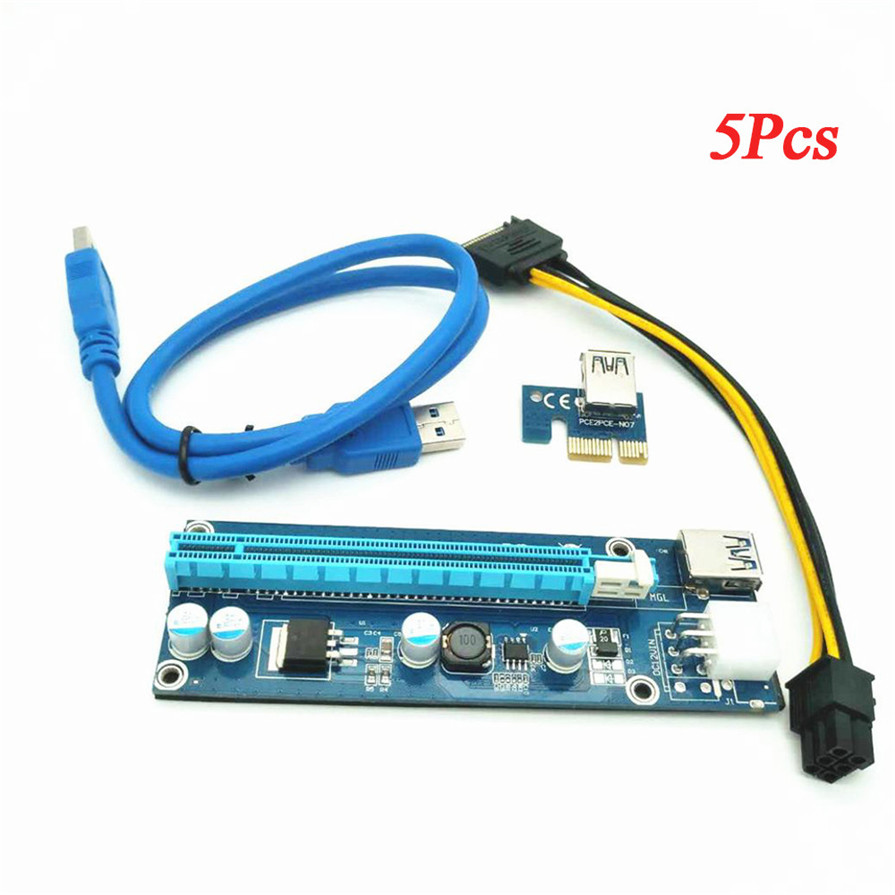 2017 5PCS PCI-E Express USB 3.0 1x to 16x Extender Riser Card Adapter SATA 15pin Male to 6pin Power Cable for PC Miner Machine new usb3 0 008s pci e riser express 1x 4x 8x 16x extender riser adapter card sata 15pin to 6pin power cable dual power interface