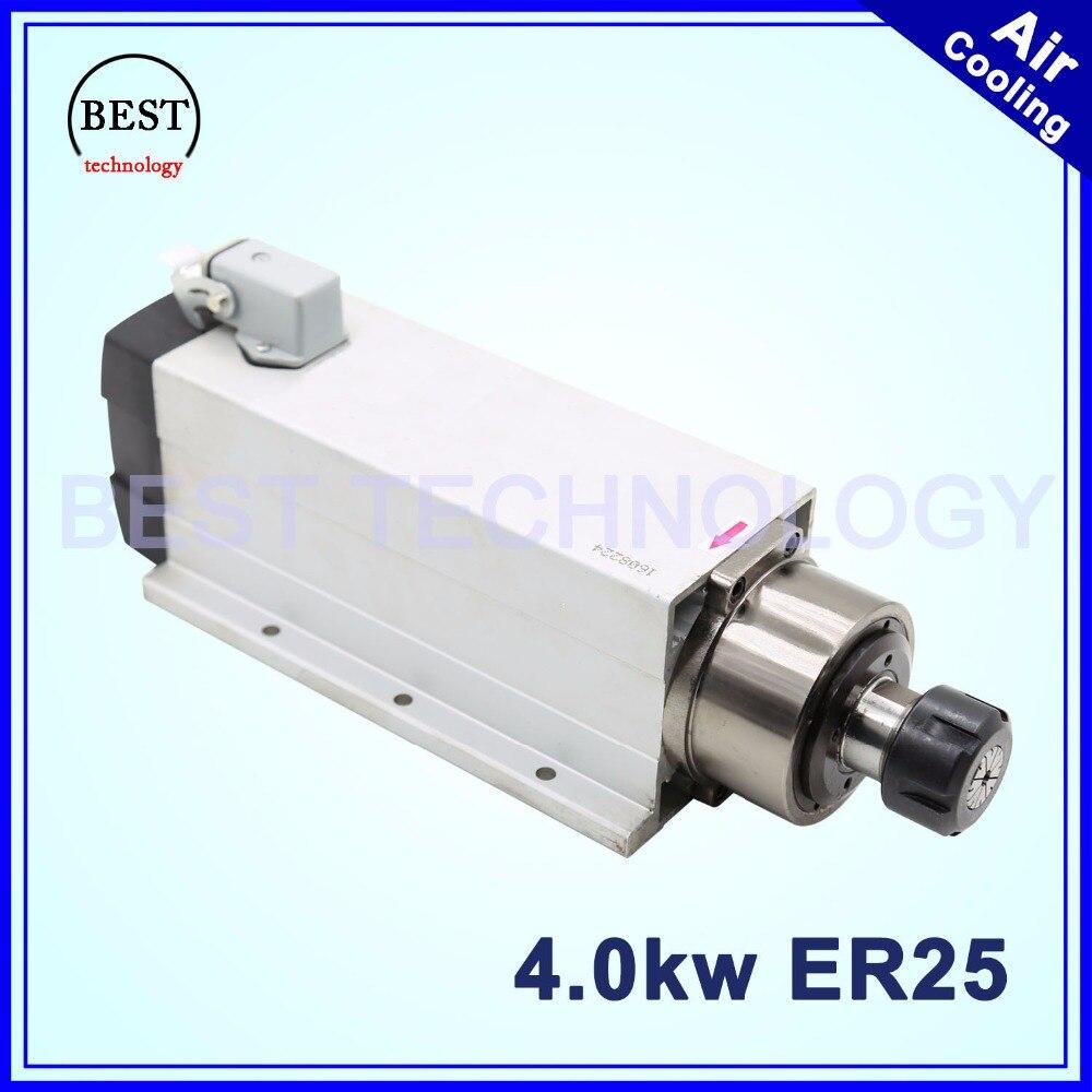 Nueva llegada! 4kw ER25 refrigerado por aire del motor del husillo refrigeración por aire 18000 RPM 4.0kw 4 rodamientos 220 V/380 V Eje cuadrado motor para cnc