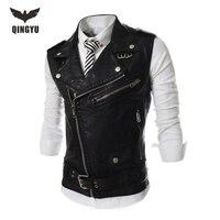 2017 New Brand Mens Leather Motorcycle Vest Harley Mens Leather Vest Waistcoat Steampunk Rock Slim Zipper