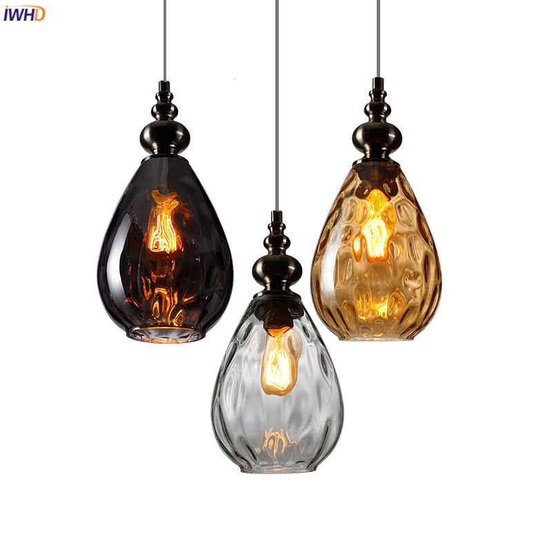 IWHD Nordic Glass Vintage LED Pendant Lamp Dinning Living Room Lights Glass Ball Hanging Light Fixtures Home Indoor Lighting
