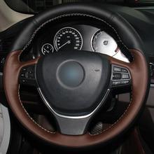 Hand sewing custom Black  Leather Coffee Leather Car Steering Wheel Cover for BMW F10 2014 520i 528i 2013 2014 730Li 740 все цены
