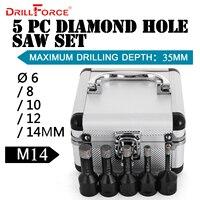 Drillforce 5PCS Diamond Hole Saws Set 6/8/10/12/14mm M14 Durable Carborundum Ceramics M14 Thread Drill Core