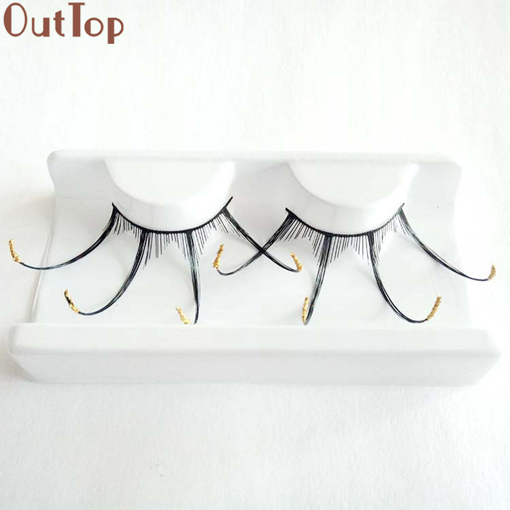 OutTop Natural Beauty 2017 A pair Women s Halloween Party Party Makeup Art Black Wave False Eyelashes New Eyelash Aug14