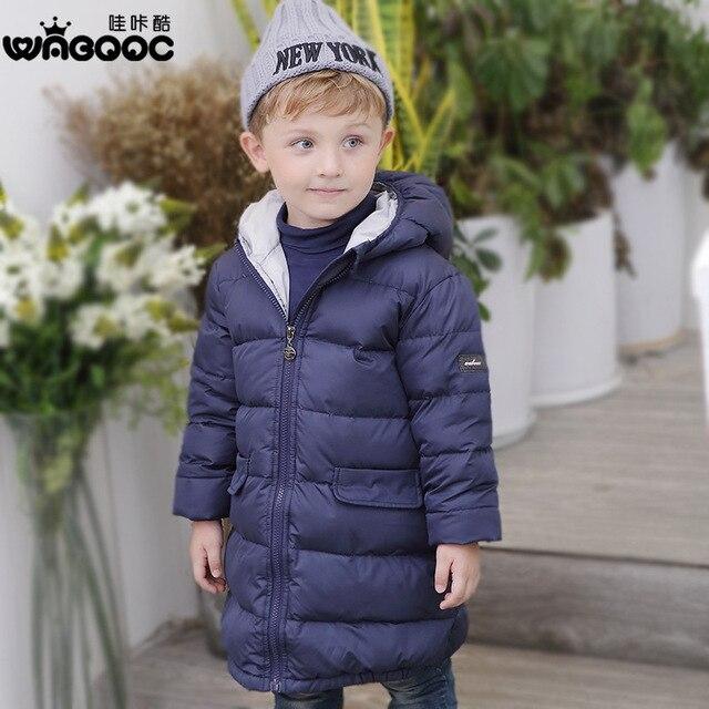 Новая зима 2017 хан издание детской одежды вниз куртку Детей пуховик утолщение долго мальчик в девушки пальто