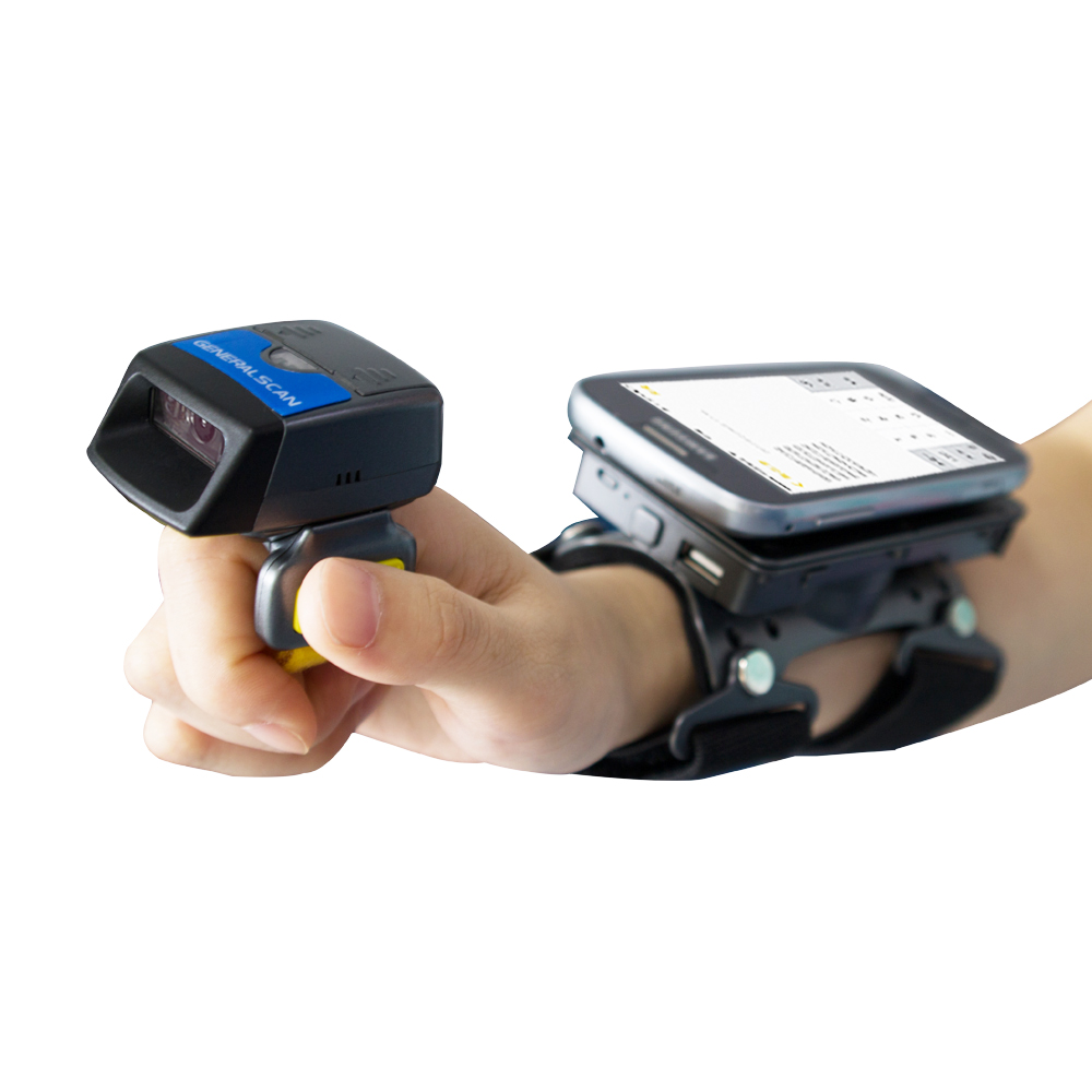 Generalscan Wireless Ring Barcode Scanner R1500BT-HW 2D Mini Bluetooth/USB Barcode Scanner with Wearable Armband AB1000 2d wireless barcode area imaging scanner 2d wireless barcode gun for supermarket pos system and warehouse dhl express logistic