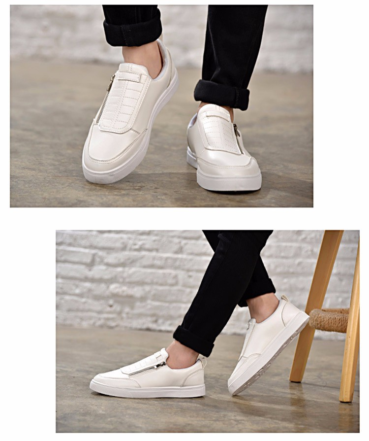 BODNSN Casual Men\'s Skate Shoes Zip Leather Flats 2016 New Solid Round Toe Men\'s Flat Shoes Breathable Fashion Man Shoes PX43 (9)