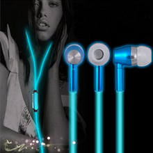 Luminous Night Light Glowing Headset  Glow In the Dark Earphones in-Ear Earbuds Stereo Hands free with Mic for Smartphone