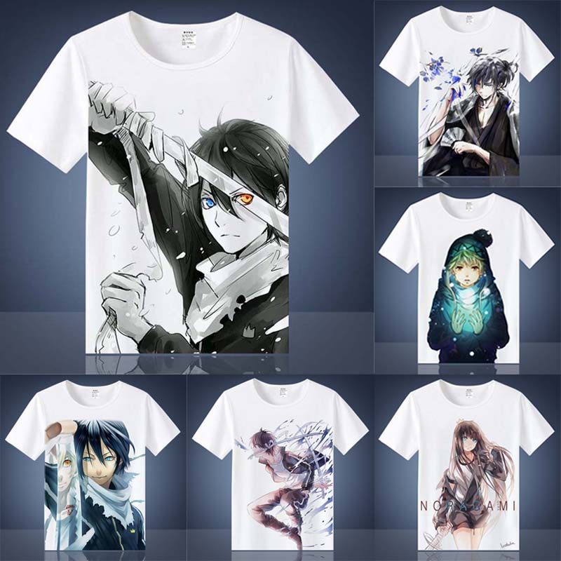 Coshome Noragami Yato T Shirts Cosplay Costumes Men Women T-shirts Adult Anime Tops Short Sleeves Summer Tees