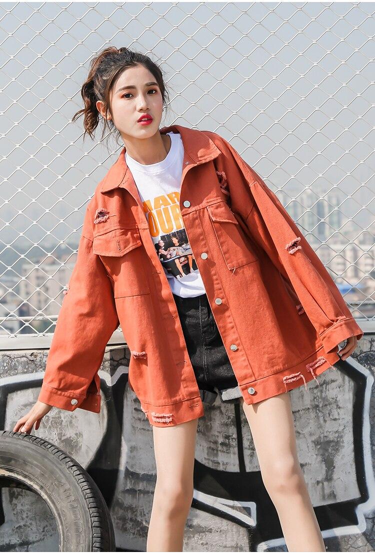 Autumn Punk White Red Yellow Pink Basic Denim Hole Jacket Women Harajuku Jean Jackets Coat Streetwear Chaqueta Jean Rosada Veste