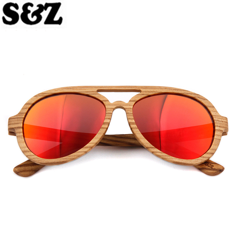 Handmade Wooden Polarized Sunglasses Women Men Retro Frame Polarized Driving Sun Glasses