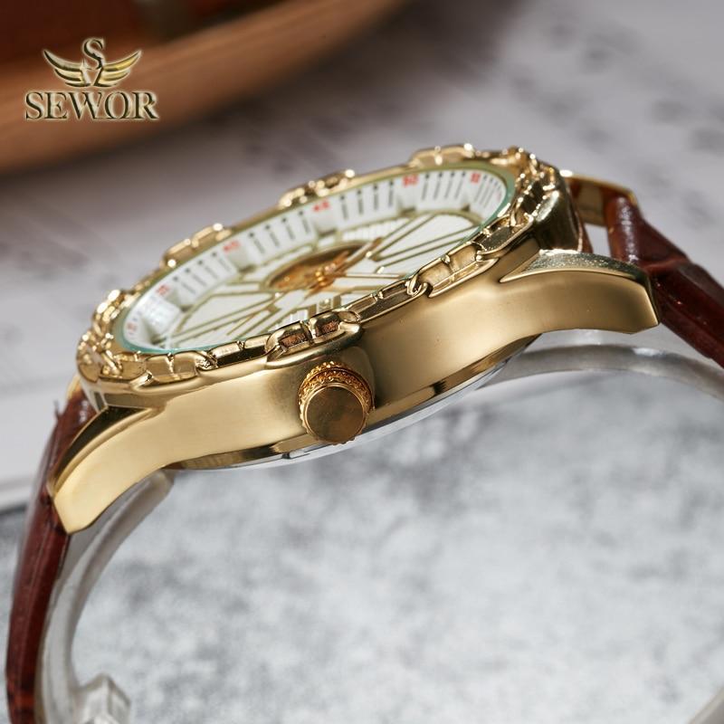 SEWOR 2019 Luksusowa marka Chalet Yoke Shape Mens automatyczny - Męskie zegarki - Zdjęcie 4