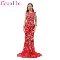 2018 New Luxury Beading Red Mermaid Long Prom Dress Jewel Neck Sheer Sweetheart Neckline Open Back Illusion Skirt Party Dress
