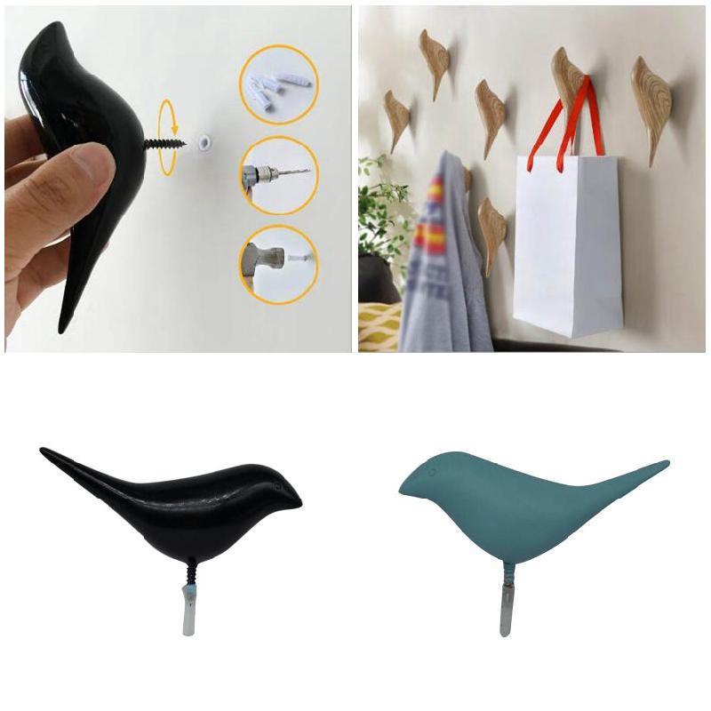 Creative 3D Bird Decoration Single Hook Resin Wall Hanger Hat Bag Coat Hooks  For Living Room Bedroom Door Hot Sale