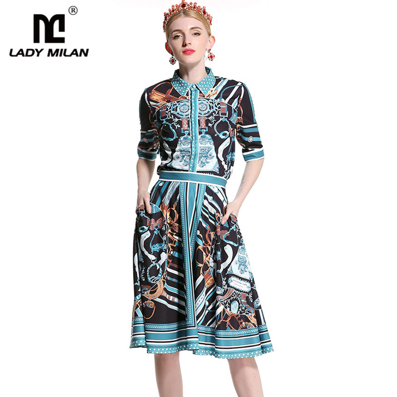 Lady Milan 2018 Womens Turn Down Collar Half Sleeves Printed Shirts with Floral Side Pockets Skirts Fashion Two Piece Dresses