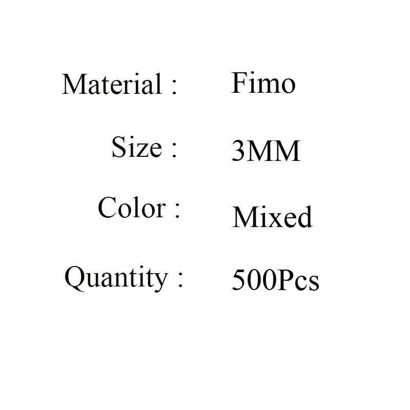 Бесплатная доставка 500 шт/партия 3 мм смешанные цвета FIMO Распорки полимерные бусины из глины Изготовление Бижутерии изготовление для ожерелья