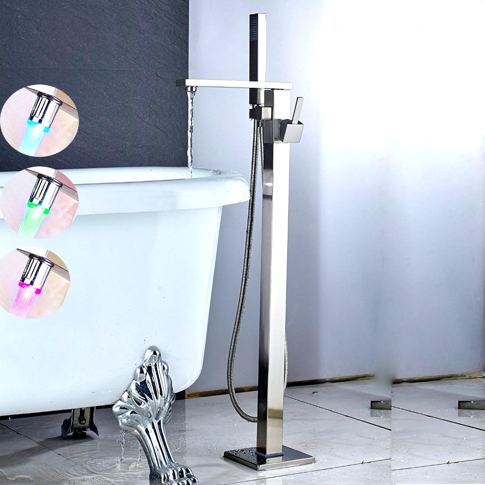 Bathroom Floor Mounted Bathtub Faucet Single Handle Mixer Tap with Hand Shower Brushed Nickel LED Spouts