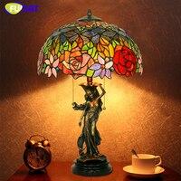 Фумат Стекло Книги по искусству настольная лампа в европейском стиле Медь пятнистости Стекло лампы для Гостиная светильники Спальня тумбо
