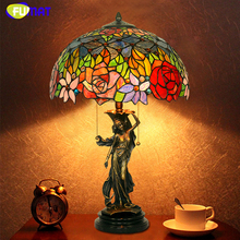 FUMAT Glass Art Table Lamp European-style Copper Stained Glass Lamp For Living Room Light Fixtures Bedroom Bedside Table Lamp