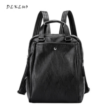 DLKLUO  Fashion Women Leather Backpack Teenage Student Schoolbag Leisure Travel Backpack Soft Sheepskin Women Bags FRRE SHIPPING