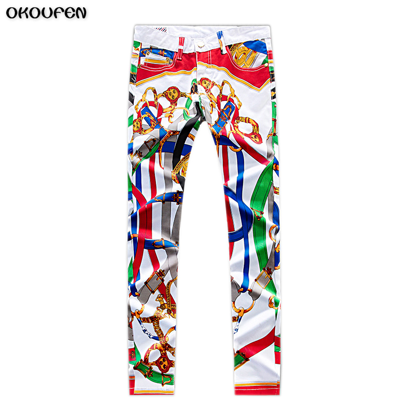 Mens Elastic Jeans Fashion Leisure Male Slim Skinny Jeans Multicolour Art Lacquer Pants Brand Clothes NZK30