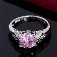 SHUANGR Charm Fancy Shinning Pink CZ Zircon jewelry silver Color Wedding rings for women Size 6 7 8 9 10 bague luxury bijoux