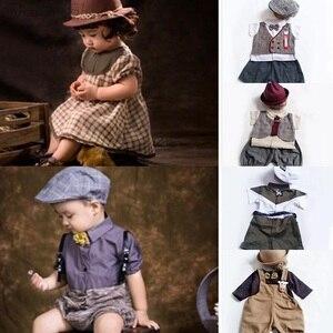 Accesorios de fotografía para bebé, niña, niño, ropa de 1 año, traje de sesión de fotografía de cumpleaños con sombrero, trajes, accesorios para fotografía de bebé
