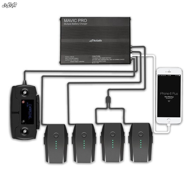Mavic Pro Battery & Remote controller charger 4 battery Port + 2 USB Port Intelligent Charging For DJI Mavic Pro Drone 3 in 1 battery charger for dji spark intelligent flight battery charging hub