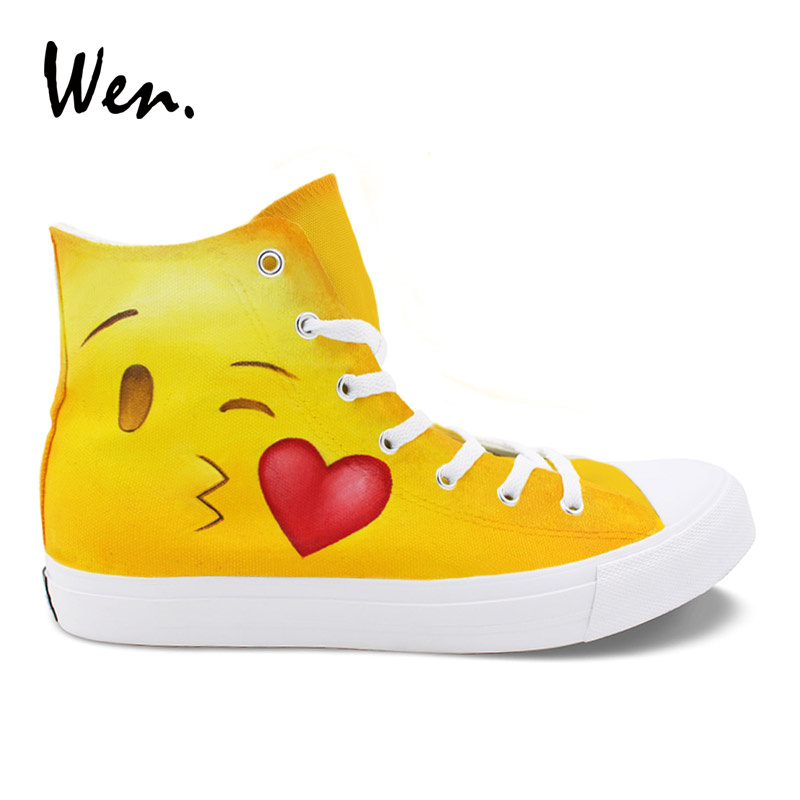 Wen Girls Casual Shoes High Top Hand Painted Shoes Emoji Pattern Design Boys Canvas Sneakers for Male Female Christmas Gifts wen original high top sneakers steam punk hand painted unisex canvas shoes design custom boys girls athletic shoes gifts