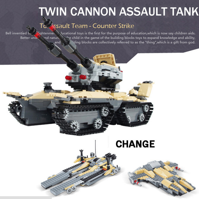 World war Military Future Commando special forces Twin cannon assault tank warship 2in1 building block model brick toys for boys