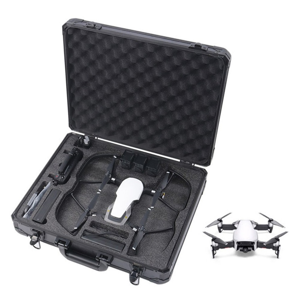 Black Aluminium Alloy Drone Carrying Box Handheld Hard Shell Storage Case For DJI MAVIC AIR No Need To Remove Guard Ring waterproof hard shell backpack storage box carrying case suitcase silver for dji mavic air fly more combo rc drone fpv