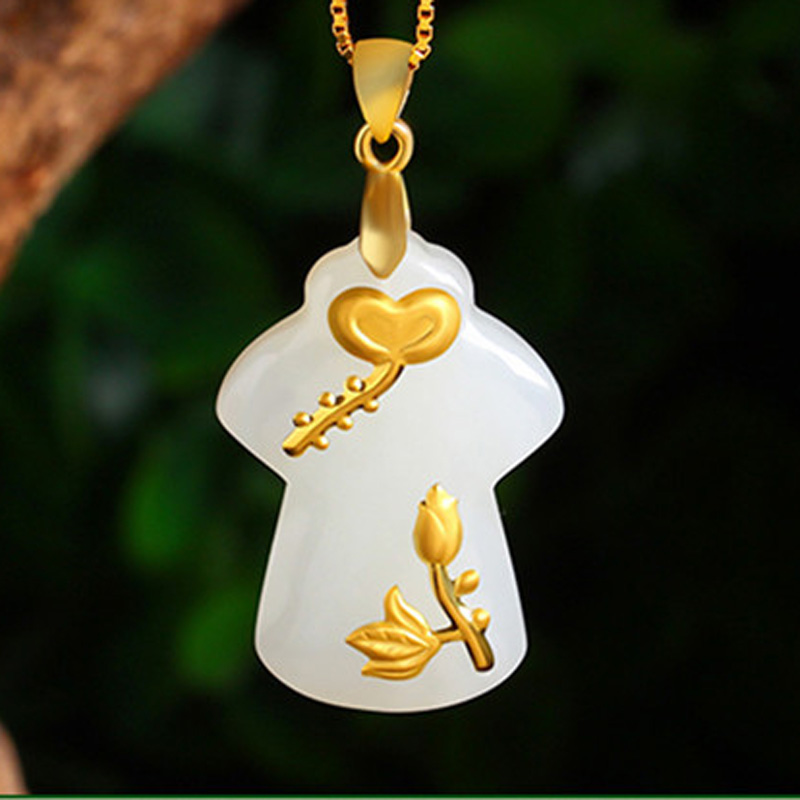 Hetian Jade Safety Button Pendant Ping An Kou Necklace Lovers Lucky Amulet 24K Gold Jewelry Wholesale Chinese Fine