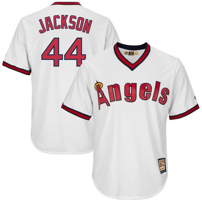 MLB Для мужчин Лос-Анджелес Ангелы Фред Линн Jerse Реджи Джексон Majestic Белый Прохладный База Куперстаун плеер Джерси