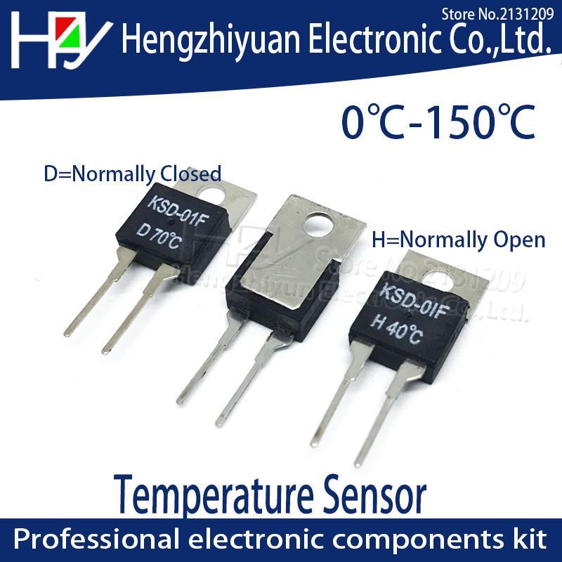 1.5A 250V PARA-220 Interruptor Térmico Sensor de Temperatura Do Termostato Fusível KSD-01F 40 50 100 125 130C D Normalmente fechado H Normalmente Aberto