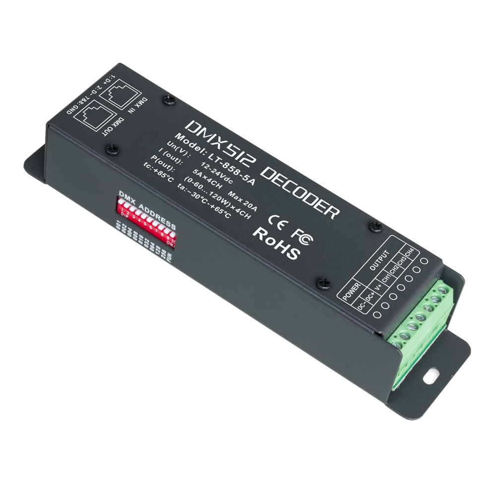 New LTECH LT-858-5A DMX Decoder 4CH CV RGBW Strip use;DC12-24V in 5A*4CH Max 20A RJ45 output 0-100% brightness various changing new ltech lt 854 5a led dmx decoder ce fcc rgbw strip decoder dc12v 24v 5a 4ch 20a output 0 100