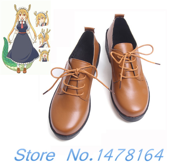 Anime Miss Kobayashis Dragon Maid Tooru Tohru Brown Shoes Cosplay Japan Style Round Toe Flat Boots School Costumes