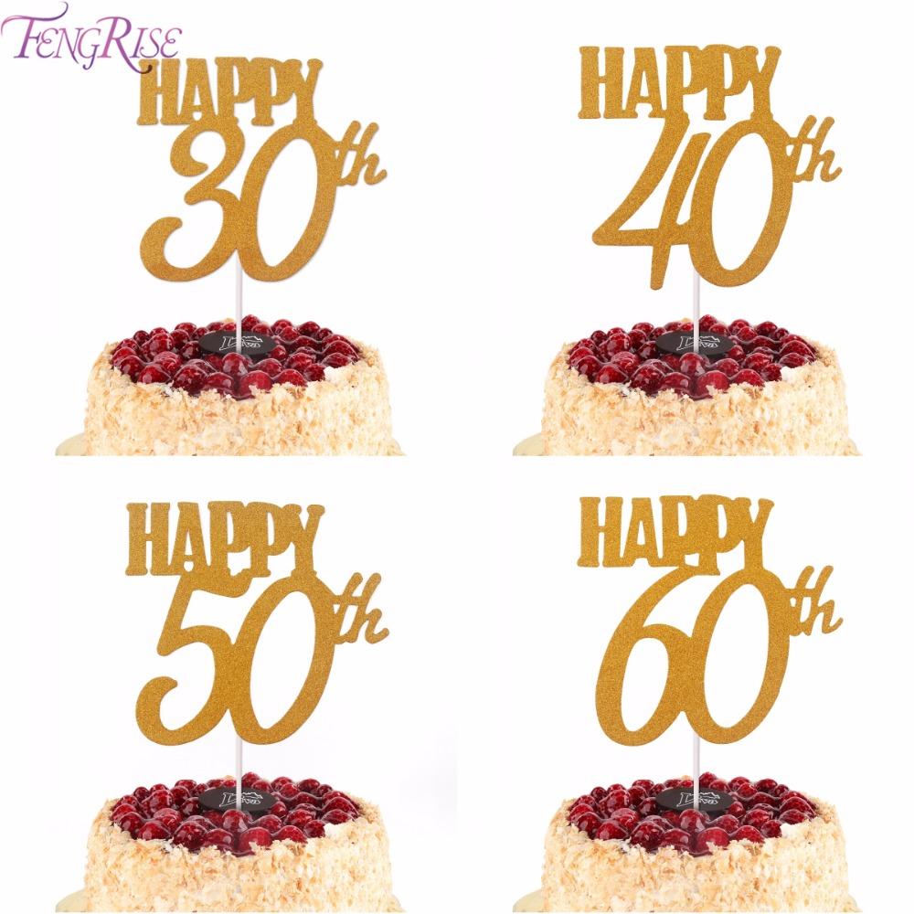 Hot Sale Fengrise 1pc Gold Happy 30th Birthday Cake Topper Happy 40
