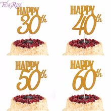 FENGRISE 1pc Gold Happy Birthday Cake Topper 40th 50th 60th Cupcake Toppers 30th Decoration