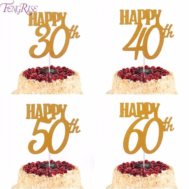 FENGRISE 1pc Gold Happy Birthday Cake Topper 40th 50th 60th Cupcake Toppers 30th Decoration 30 40 50 60 In Decorating Supplies