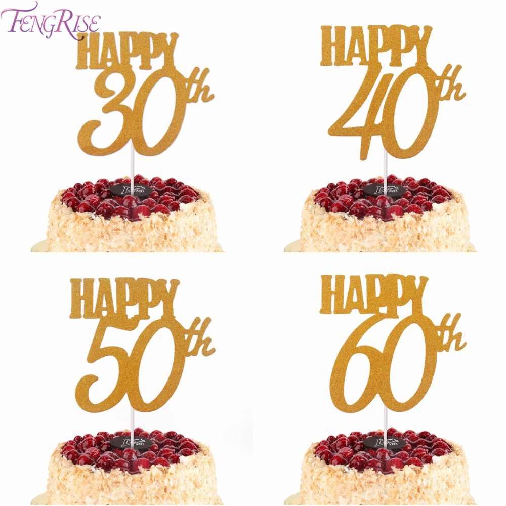 Superb Fengrise 1Pc Gold Happy Birthday Cake Topper 40Th 50Th 60Th Funny Birthday Cards Online Drosicarndamsfinfo